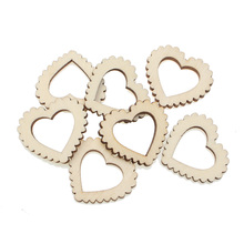 100Pcs 30x26mm Woody Hollow Heart Wooden Crafts Embellishments MDF Unfinished Wood Scrapbooking For Craft Decoration Diy