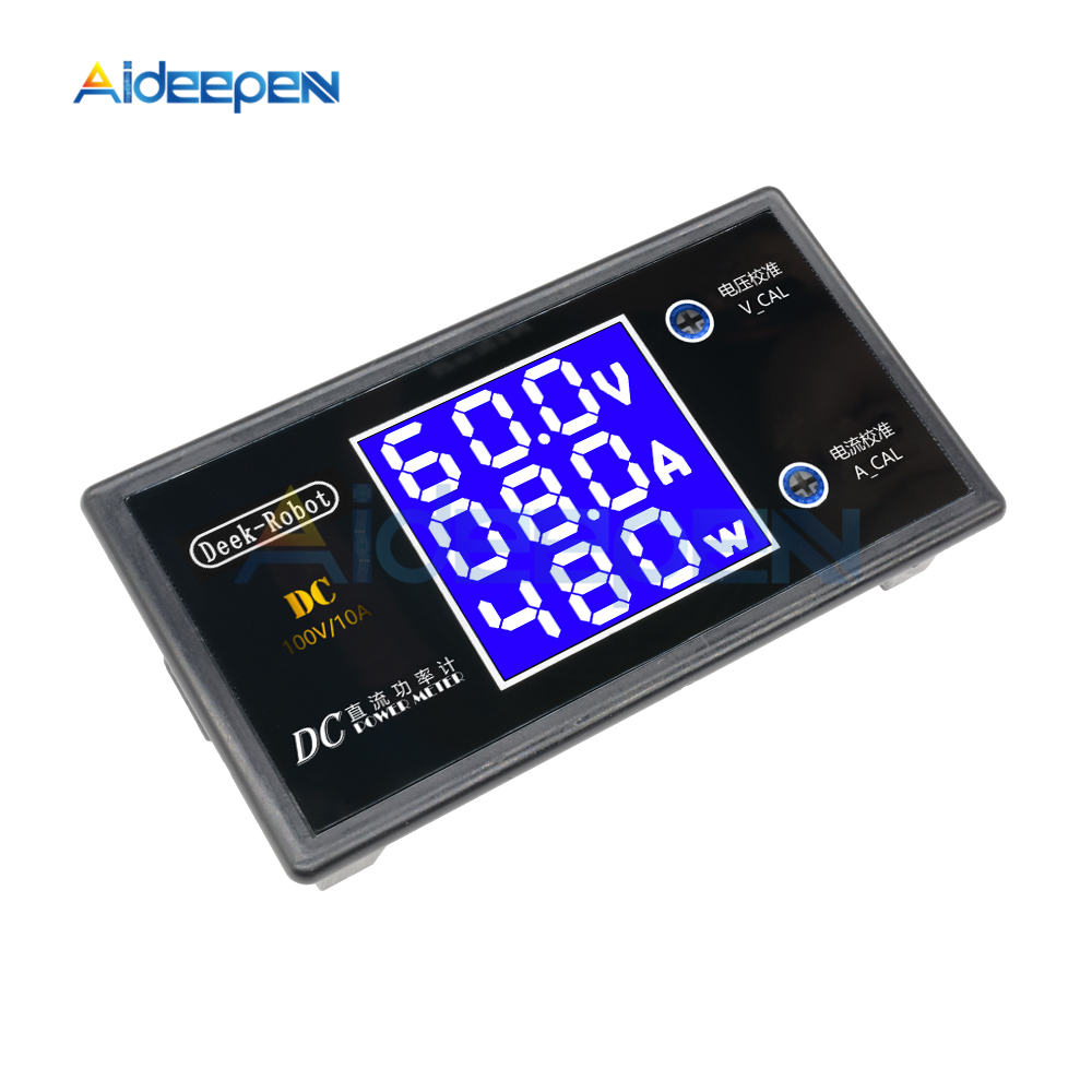 DC 0-100V 0-50V 5A 10A LCD Digital Voltmeter Ammeter Wattmeter Voltage Current Power Meter Volt Detector Tester 250W 1000W 18
