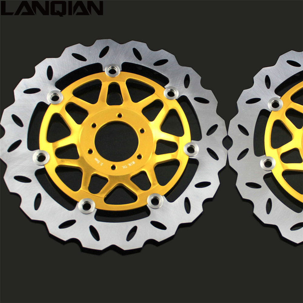 2PCS Motorcycle Front Floating Brake Disc Rotor For Honda CB400 1999 2000 2001 2002 2003 2004 2005 2006 2007 2008 2009 CB 400 mfs motor motorcycle part front rear brake discs rotor for yamaha yzf r6 2003 2004 2005 yzfr6 03 04 05 gold