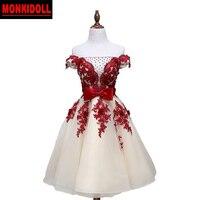 Elegant Lace Homecoming Dresses 2019 Beading Bow Applique Corset 8th Grade Short Prom Dress Junior High Graduation Dresses