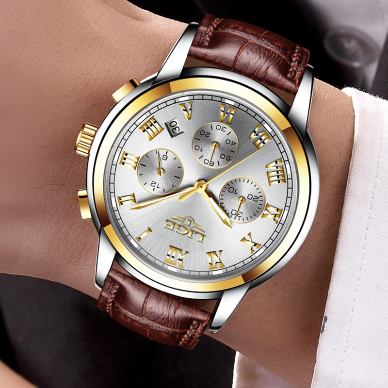 2018 Fashion Casual Men 39 s Watches Top Brand Luxury Leather Waterproof Quartz Watches Calendar amp Chronograph Relogio Masculino in Quartz Watches from Watches