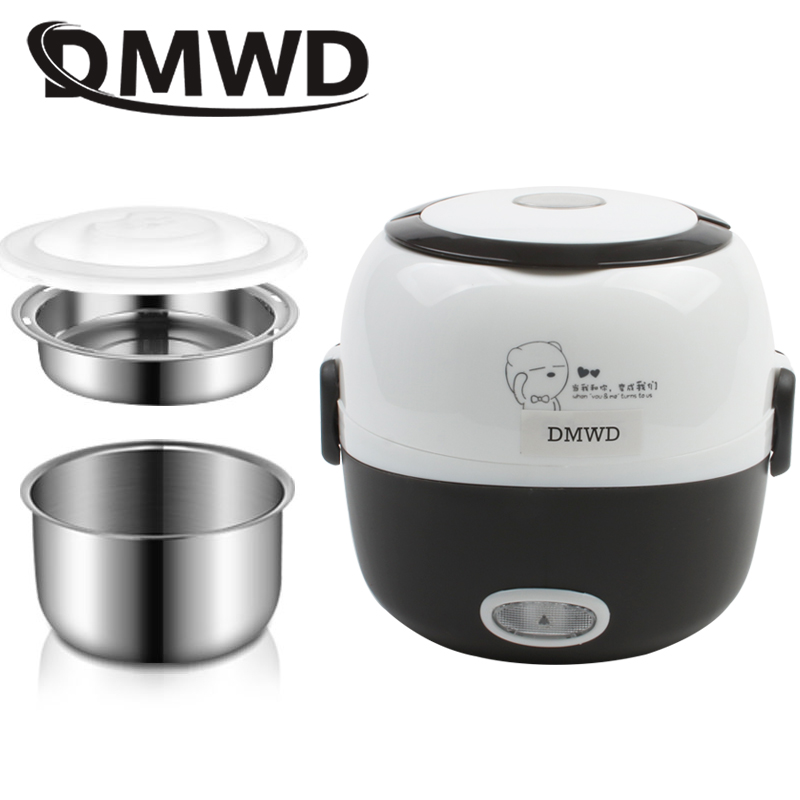 DMWD MINI Rice Cooker Thermal Heating Electric Lunch Box 2 Layers Portable Food Steamer Cooking Container Meal Lunchbox Warmer portable 12v car electric heating lunch box rice cooker food warmer 1 05l 40w