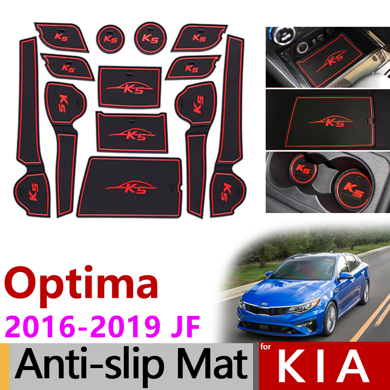 Anti-Slip Rubber Mats Gate Slot Mat for KIA Optima 2016 2017 2018 2019 JF 4th Gen mk4 KIA K5 SW Accessories Stickers No Cup Mats image