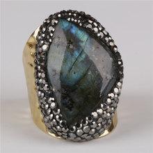 4a288f377b76 Grande natural gris oscuro gris labradorita piedra de cristal pavé de  diamantes de imitación del encanto del grano abierto anill.