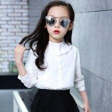 Белые школьные рубашки с длинными рукавами для девочек; Новинка года; блузки для девочек с круглым вырезом; однотонные топы для подростков; детская одежда; Bs081