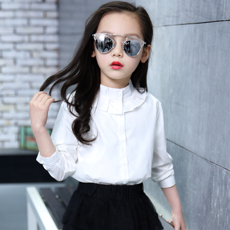 White Full Sleeve Girls   Shirts   for School 2018 New O-neck Girl   Blouses   Solid Tops Teenager Kids Children Clothing Clothes Bs081