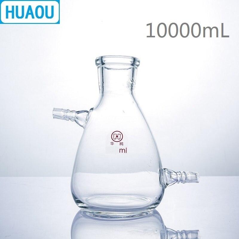 HUAOU 10000 ml Filtrage Flacon 10L avec Supérieure Tubulature à Côté et Fond Borosilicate 3.3 Verre Laboratoire Chimie Équipement