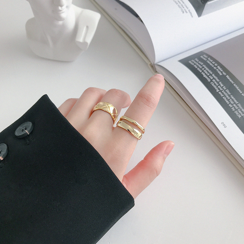 LouLeur 925 sterling silver double layer line Rings Irregular high quality elegant open rings for women friendship jewelry gift LouLeur 925 sterling silver double layer line Rings Irregular high quality elegant open rings for women friendship jewelry gift