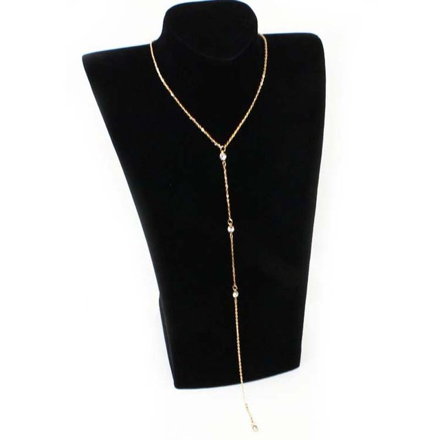 Crystal Chain Back Pendant Necklace Jewelry Charms Simple Long Necklace Women Collares Necklaces & Pendants choker 1