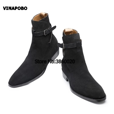 VINAPOBO Pointed Toe Slim men Suede Leather Booties genuine leather ankle strap Buckled wedge Chelsea Men denim Cowboy Boots