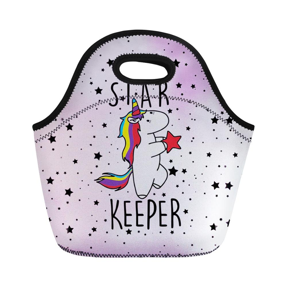 Thikin Unicorn Lunch Bag for Women Cool Portable Hand Tote Feminine Thermal Insulated Meal Bag for Kid Girls lbolsa almuerzo in Lunch Bags from Luggage Bags
