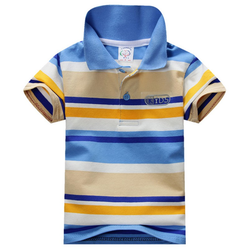 цена на 1-7Y Child Baby Boy Stand Collar Striped T-shirt Casual Tops Kids Tee Shirt