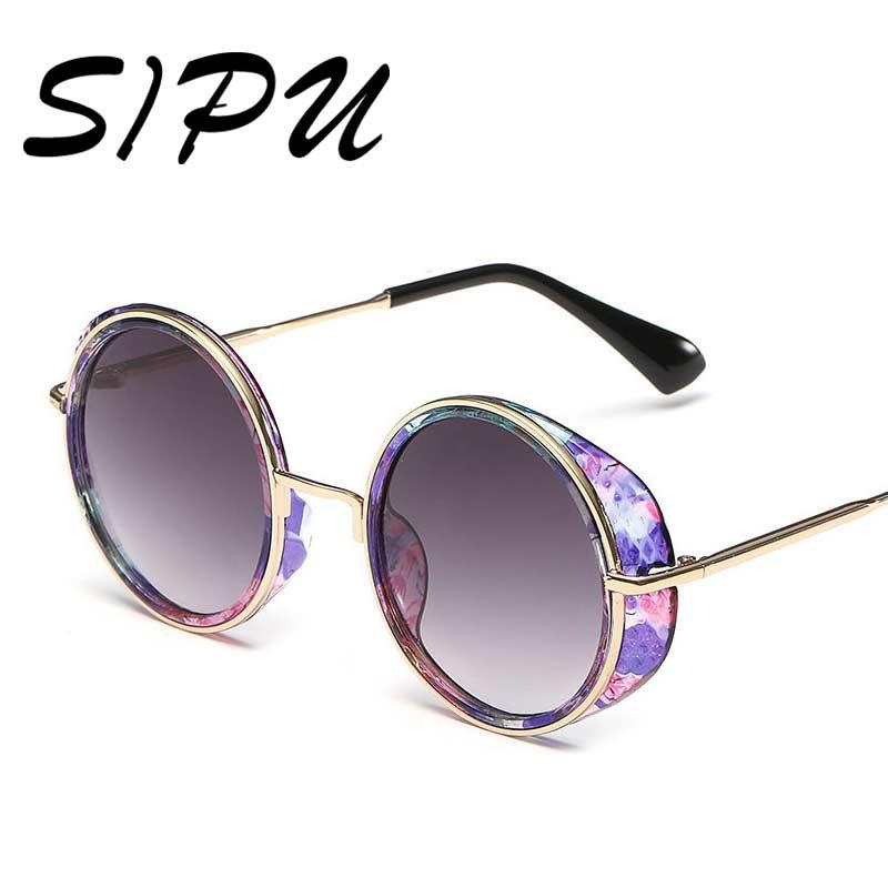 2016 Steampunk Vintage Retro Round Coating font b Sunglasses b font Women Metal Frame Designer steam