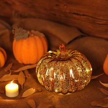GiveU Mercury Glass Antique Pumpkins LED Light with Timer for Autumn Thanksgiving Day Decor, Golden