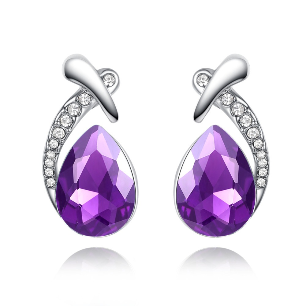 TJP Hot Sale Purple Crystal Women Stud Earrings Jewelry Charm 925 Sterling Silver Earrings For Girl Engagement Party Accessories