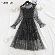 Mesh lace midi dress spring Summer 2019 new Casual Long Sleeve A-Line bodycon dress elegant Sequin party dress woman vestidos long sleeved dress women 2019 spring summer new simple stripes turn down collar slim a line casual elegant dress midi s xl