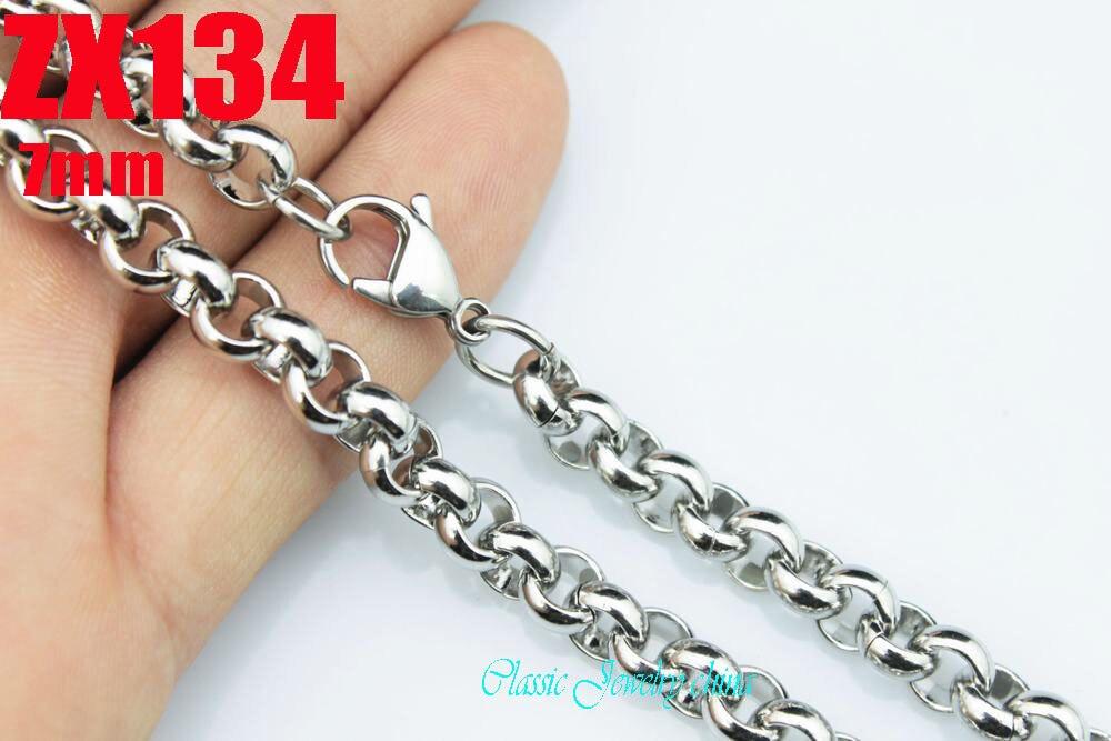 """16 """"-38"""" comprimento 7mm big rodada rolo chain link 316L colar de aço inoxidável das mulheres de moda masculina correntes do punk 10 pcs ZX134"""