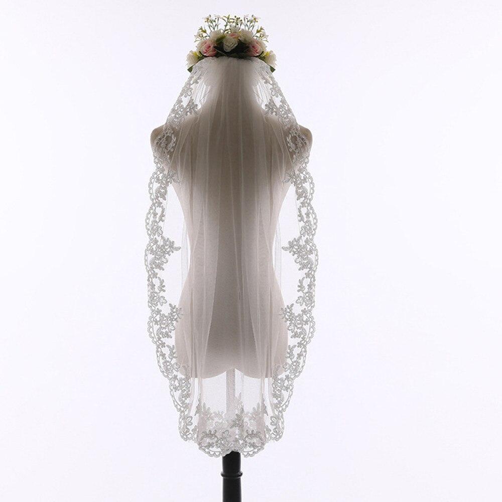 Elegant White/Ivory Elegant Beauty Two Layers Short Net Tulle Bride Veil 0.9m Long Lace Tulle Veil For Wedding