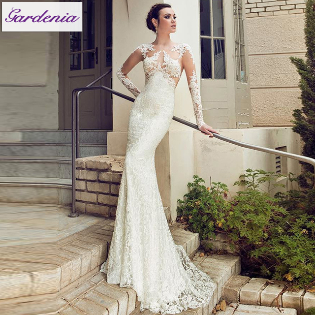 The Best Wedding Dress Custom Made In China Sheath Ivory Color Long Sleeve Lace Lique Vestidos