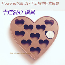 Flower Invitation Ten Love Heart Mould_ Transparent Silicone Mold For Resin Real Flower lanugo DIY Mold Jewelry