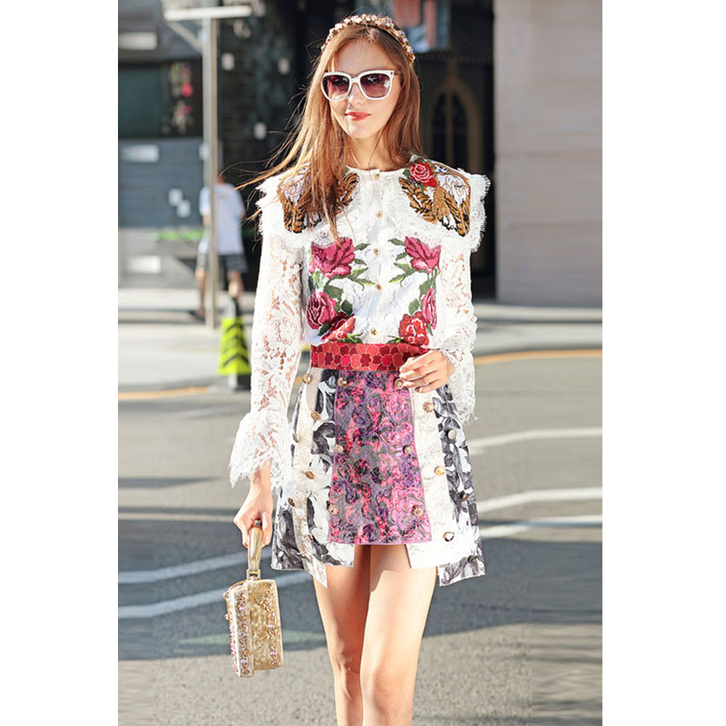 women two piece set runway skirt button embellished a line short skirt + rose embroidery long sleeve white lace blouse shirts a-line