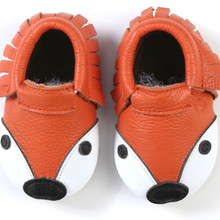 Hot sell Genuine Leather Baby Moccasins Fox Shoes yellow leopard fringe Baby gir