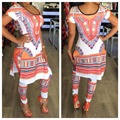 2016 Summer 2 Two Piece Set Women Ladies Sexy African Print Outfits Short Sleeve Casual Bodycon Dashiki Dress+Long Pants Suit