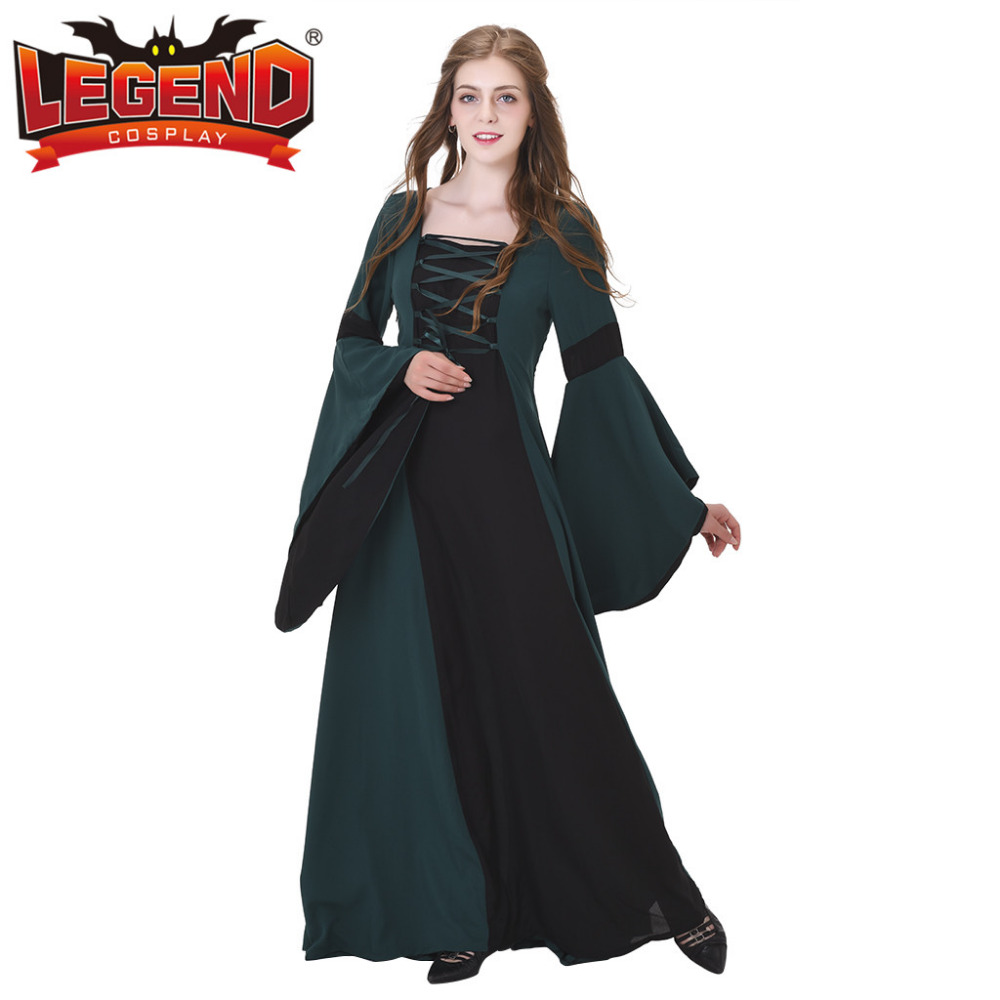 Favori Medieval Renaissance Wedding Dress Gown Dark Green Linen Medieval  YR59