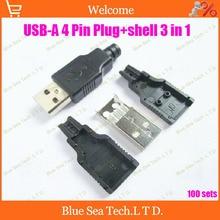Бесплатная Доставка 100 компл. 3 в 1 USB Type-A тип 2.0 Мужской 4 Pin 4 P Коннектор Разъем + пластиковый корпус черный DIY