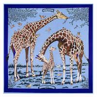 130cm * 130cm haute qualité grand carré foulards châles, marque de luxe H lettre Les girafes imprimer Twill foulard en soie pour Les femmes bandeau