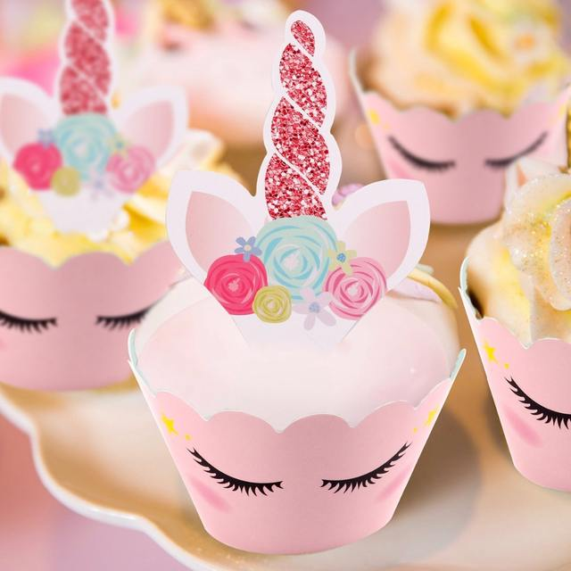 Pink Unicorn Shaped Cake Toppers