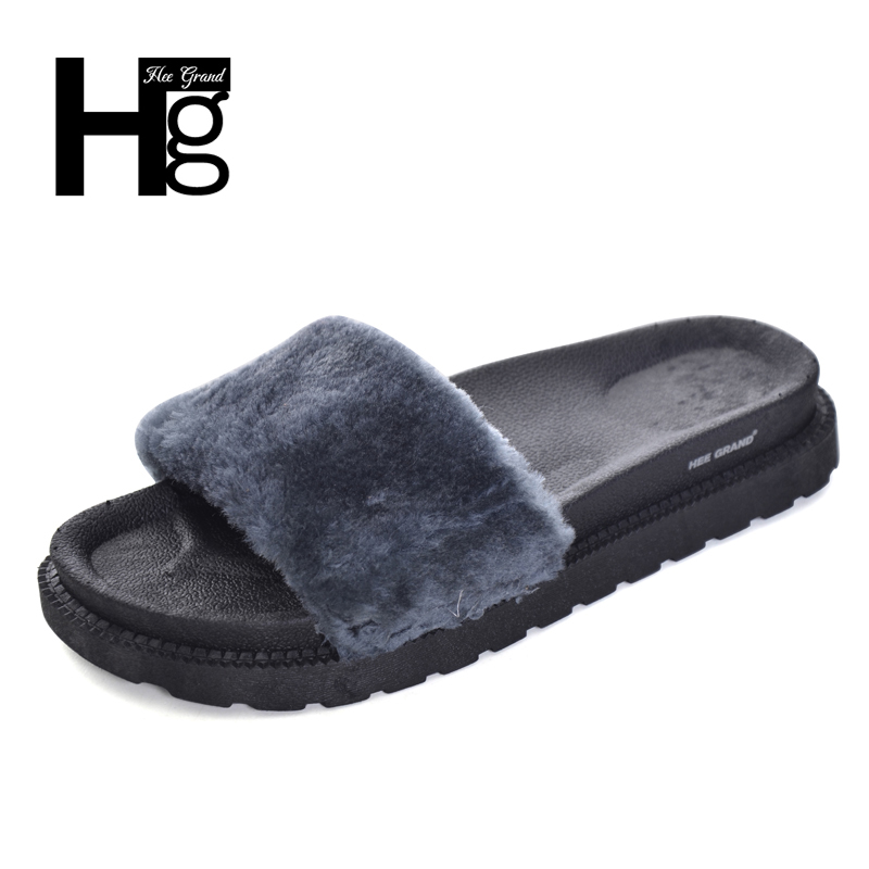 HEE GRAND Fuzzy Fur Slides Women Platform Shoes Woman Winter Soft Flat with Casual Floor Slipper Women Home Shoes XWT867 hee grand soft transparent jelly women sandals flat with crystal colorful rhinestones butterfly knot beach shoes xwz3446