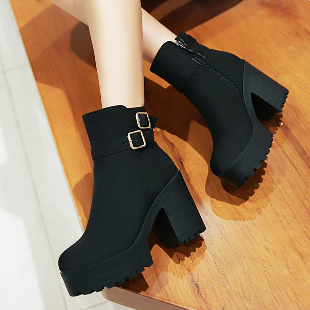 SARAIRIS hot sale russia warm plush new Plus Size 34-46 chunky heels platform winter shoes woman boots female ankle boots