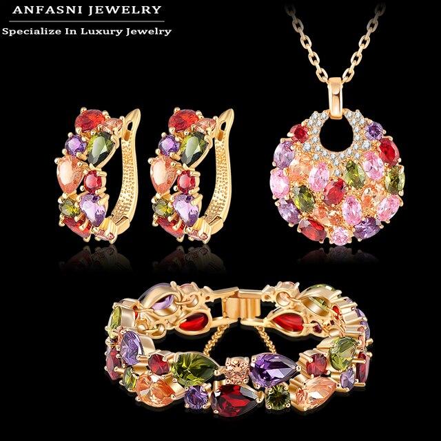Anfasni moda presente de natal conjunto de casamento das mulheres banhado a ouro zirconia brinco/colar/pulseira set jóias cst0029-c