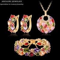 Anfasni mody christmas gift kobiety wedding set złoty kolor cyrkonu kolczyk/naszyjnik/bransoletka biżuteria ustaw cst0029-c