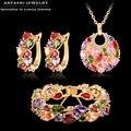 Regalo de navidad moda mujeres boda anfasni set gold plated zirconia pendiente/collar/pulsera de la joyería cst0029-c