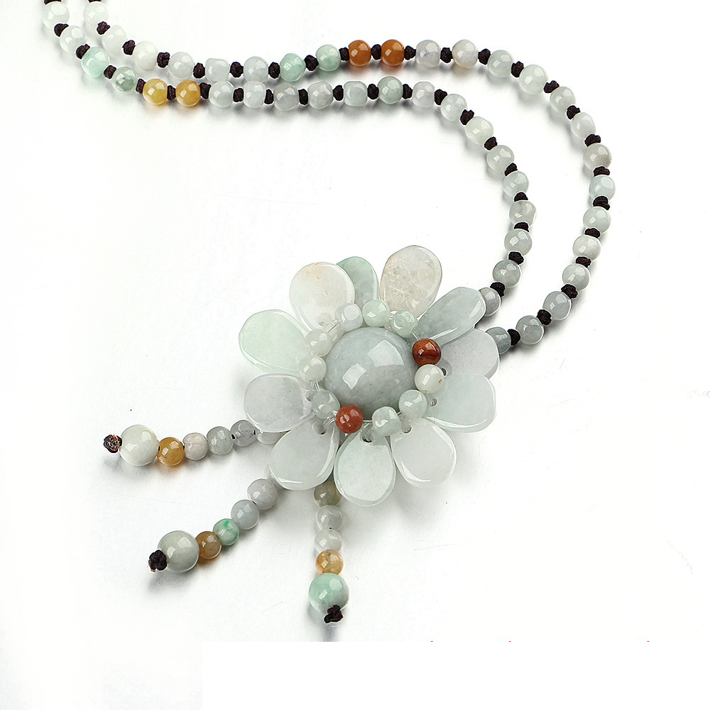 5A Natural Agate Long Necklace Flower Pendant Fashion Sweater Chain Boutique Jewelry Healing Crystal Teething Necklace Amber color agate topaz necklace natural stone crystal fashion women pearl chain party pendant exquisite jewelry flower name necklace
