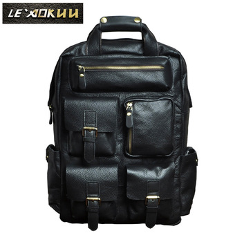 Design Male Leather Casual Fashion Heavy Duty Travel School University College Laptop Bag Backpack Knapsack Daypack Men 1170b