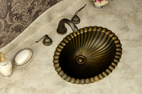 Free Shipping Fashion wash basin, Antique brass Basin, Handmade Copper Sink,Copper Vessel Sink,Brass under Counter Basin,