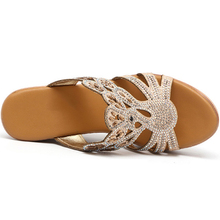 Women Crystal High Heel Wedge Sandals