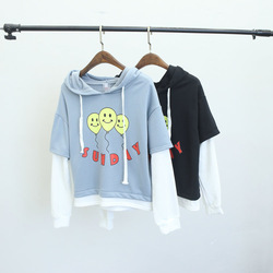 Korea institute of wind fake two balloons font b smiley b font hooded cotton sweater women.jpg 250x250