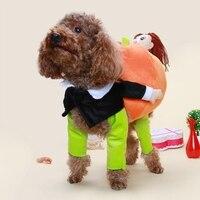 2017 Nuevo Perro de Animal Doméstico Divertido Santa Claus de Calabaza de Halloween de Lujo Del Traje de Chaqueta de Ropa de Abrigo para Perros Gatos Suministros