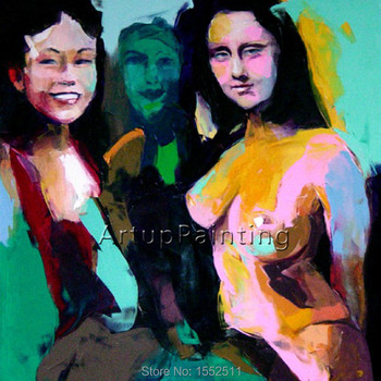 Palette knife portrait Face Oil painting Character figure canvas Hand painted Francoise Nielly wall Art picture for living room2