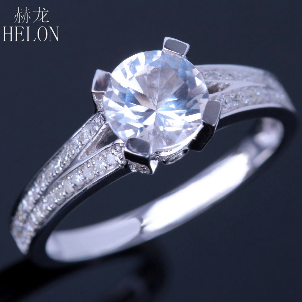 HELON Sterling Silver 925 Flawless 6.5mm Round Cut White Topaz Natural Diamonds Gemstone Engagement Wedding Fine Jewelry Ring helon sterling silver 925 flawless 11x9mm emerald cut 4 36ct real blue topaz natural diamond engagment wedding ring fine jewelry