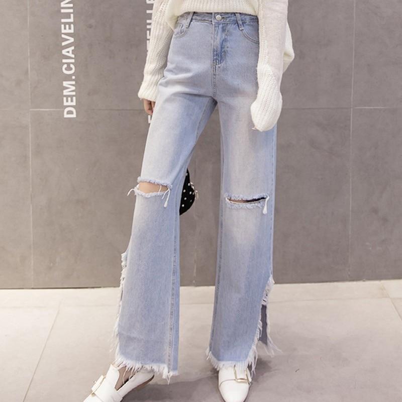 EXOTAO Design Holes Split Wide Leg Denim Pants Women High Waist Ripped Jeans Harajuku Vaqueros Mujer 2017 Winter Pantalones mini led 200lm 3 mode white light flashlight black blue 1 x 14500 1 x aa
