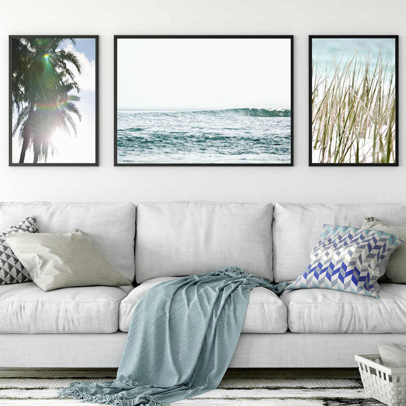 Nautical Landscape Wall Art Tropical Coastal Ocean Canvas Painting Palm Tree Posters and Prints Pictures for Living Room Decor