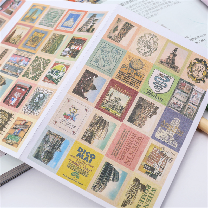 4sheets/lot  Vintage Italy style Folding Stamps Stickers Multifunction sticker Self-adhesive Stickers DIY Scrapbooking Sticker