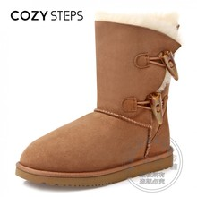 Horn Casual Fur Women's Snow Boots Mid-calf Classic Pure Color Western Sleeve Composite Sole Round Toe Australia Sewing Shoes