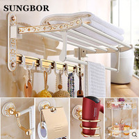 Space Aluminum Fashion White Wall Mounter Bath Hardware Sets Paper Towel Holder Rack Bathroom Accessories OYS