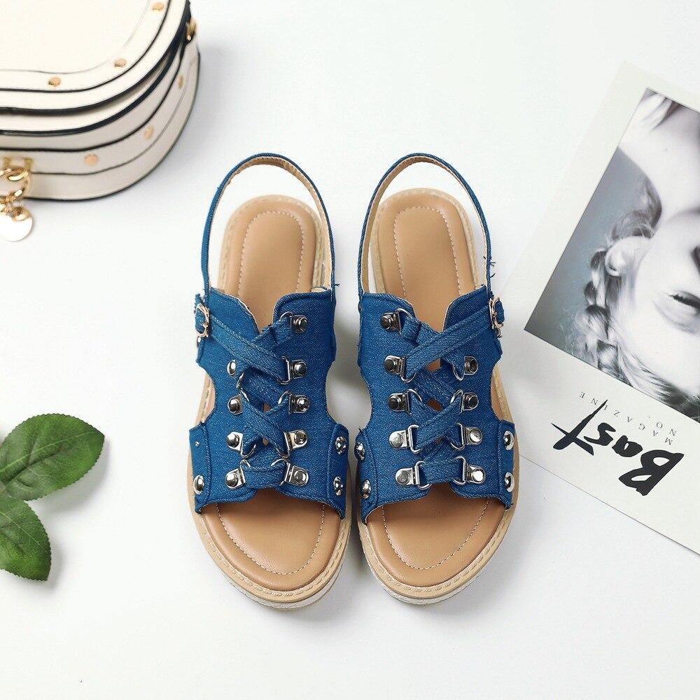 AGUTZM Plus Size 33-43 Canvas Sandals Women Big Size 2018 Women Summer Shoes Comfortable Women Sandals Flat sandalias